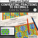 Converting Fractions to Decimals Color by Number Distance Learning