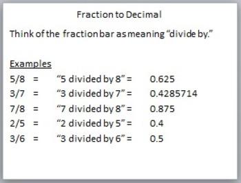 Converting Fractions to Decimals, Decimals to Percents