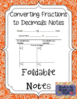 Converting Fractions to Decimals Foldable