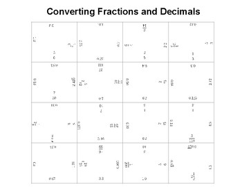 Converting Fractions to Decimals Fun Square Puzzle.