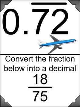 Converting Fractions to Decimals (Harder Problems) Scavenger Hunt