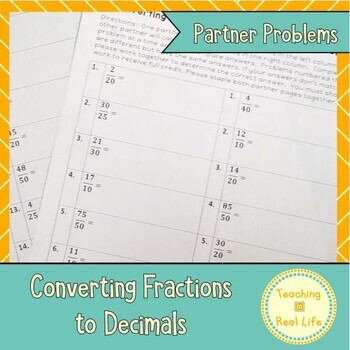 Converting Fractions to Decimals Partner Problems