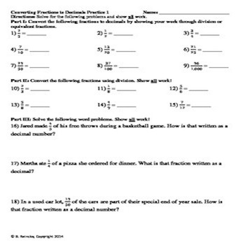 Converting Fractions to Decimals Practice Worksheets