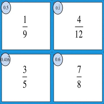 Converting Fractions to Decimals Self-Checking Task Cards