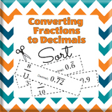 Converting Fractions to Decimals Sorting Activity