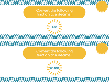 Converting Fractions to Decimals Task Cards