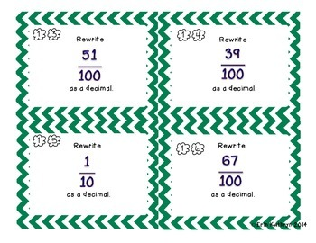 Converting Fractions to Decimals Task Cards - Set of 24 Common Core Aligned