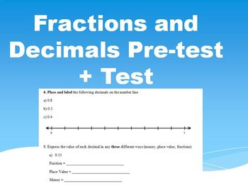 Converting Fractions to Decimals Test! Pre-test also included!
