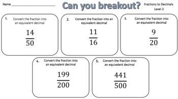 Converting Fractions to Decimals – Two Breakout Activities!
