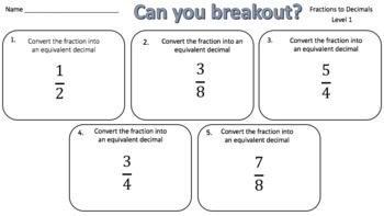 Converting Fractions to Decimals – Two Breakout Activities!