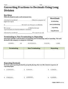 Converting Fractions to Decimals Using Long Division Worksheet | TpT
