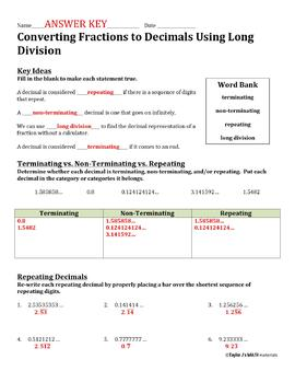 converting fractions to decimals using long division worksheet  tpt converting fractions to decimals using long division worksheet