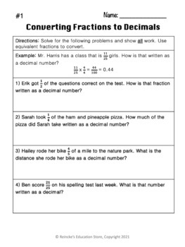 converting fractions to decimals word problems  worksheets  tpt converting fractions to decimals word problems  worksheets