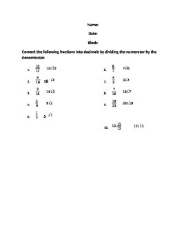 Converting Fractions to Decimals Worksheet