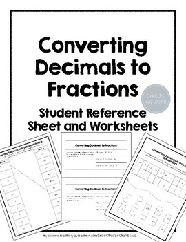 converting decimals to fractions worksheets with student reference  originaljpg