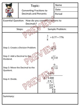 Converting Fractions to Decimals and Percents Cornell Notes