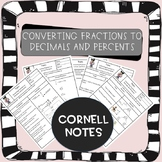 Distance Learning: Converting Fractions to Decimals and Percents Cornell Notes