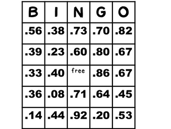 Converting Fractions to Decimals to the Nearest Hundredths BINGO