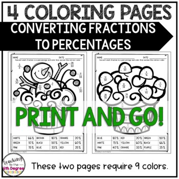 Converting Fractions to Percentages: Holiday Coloring Pages