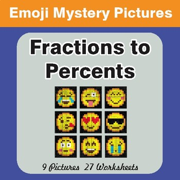Converting Fractions to Percents EMOJI Math Mystery Pictures