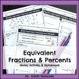 Converting Fractions and Percents Notes Activity Homework
