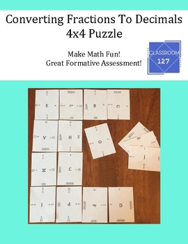 Converting Fractions to Decimals: 4 x 4 Puzzle