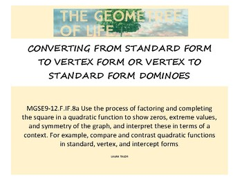 Converting From Standard to Vertex or Vertex to Standard Form Dominoes