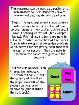 Converting/Conversion Gallons, Quarts, Pints, and Cups Graphic Organizer