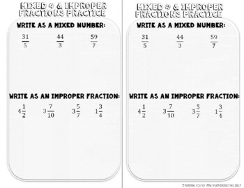 Converting Improper Fractions & Mixed Numbers - Doodle Note Brochure for INB
