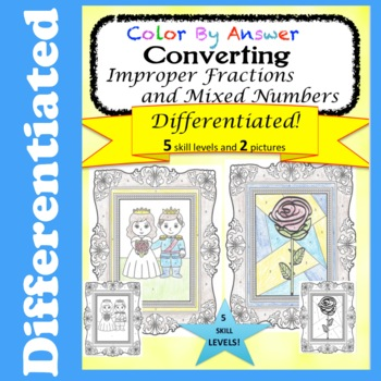 Converting Improper Fractions and Mixed Numbers Color By Answer Differentiated
