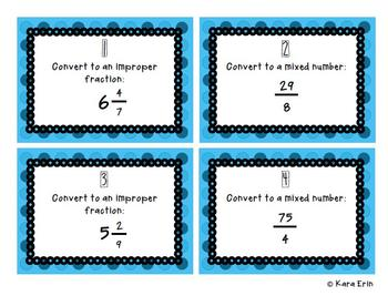 Converting Improper Fractions and Mixed Numbers PowerPoint and Task Cards