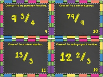 Converting Improper Fractions and Mixed Numbers Task Cards