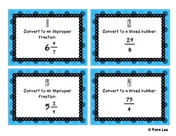 Converting Improper Fractions and Mixed Numbers Task Cards - Set of 20