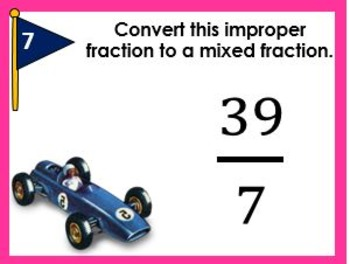 Converting Improper Fractions to Mixed Fractions Task Cards
