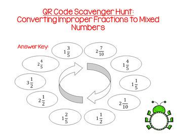 QR Code Scavenger Hunt: Converting Improper Fractions to Mixed Numbers BUNDLE