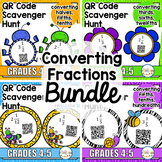 QR Code Scavenger Hunt: Converting Fractions (Improper to Mixed Numbers) BUNDLE