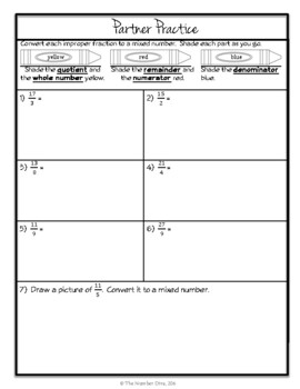 Converting Improper Fractions to Mixed Numbers, 7-Page Lesson Packet