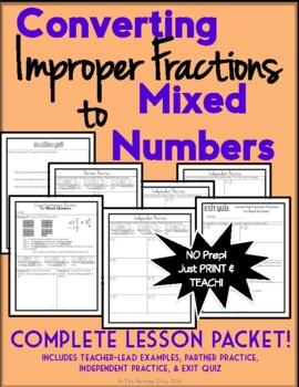 Converting Improper Fractions to Mixed Numbers, 7-Page Les