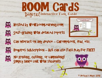 Converting Improper Fractions to Mixed Numbers Digital Boom Cards Task Cards