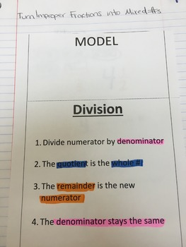 Converting Improper Fractions to Mixed Numbers Interactive Notebook Entry.