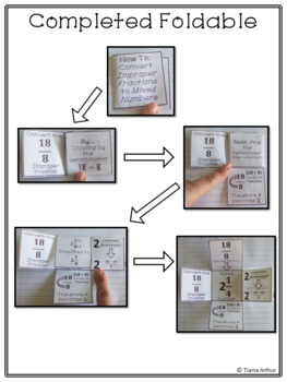 Converting Improper Fractions to Mixed Numbers Loop Cards