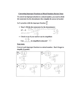 Converting Improper Fractions to Mixed Numbers Review Notes and Practice Page