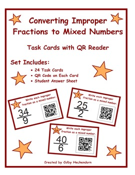 Converting Improper Fractions to Mixed Numbers Task Cards with QR Reader
