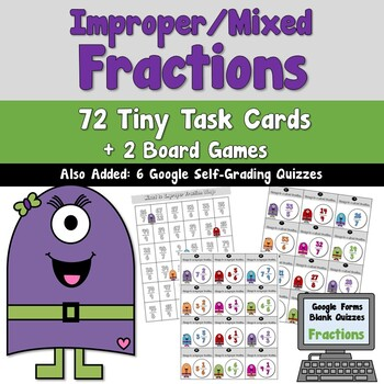 Improper and Mixed Fractions Task Cards and Google Quizzes Distance Learning