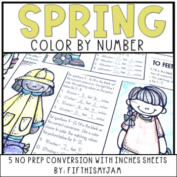 Converting Inches to Feet Color By Number 5.MD.1