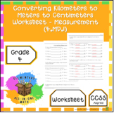 Converting Kilometers to Meters to Centimeters Worksheet - Measurement (4.MD.1)