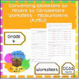 Converting Kilometers to Meters to Centimeters Worksheet -