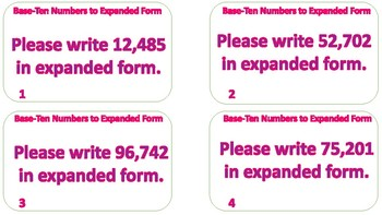 Converting Larger Base-Ten Numbers to Expanded Form Task Cards