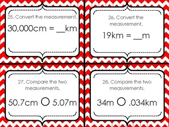 Converting Length Measurement Task Cards
