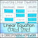 Converting Linear Equations ~ Slope Intercept, Standard, & Point Slope